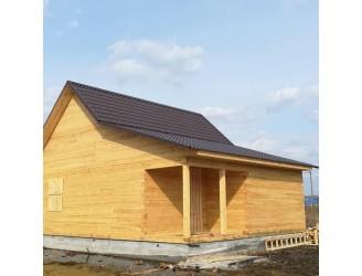 13. Весной построили красивый дом из бруса 150х150 размером 8х8, с террасой и котельной 2х8.