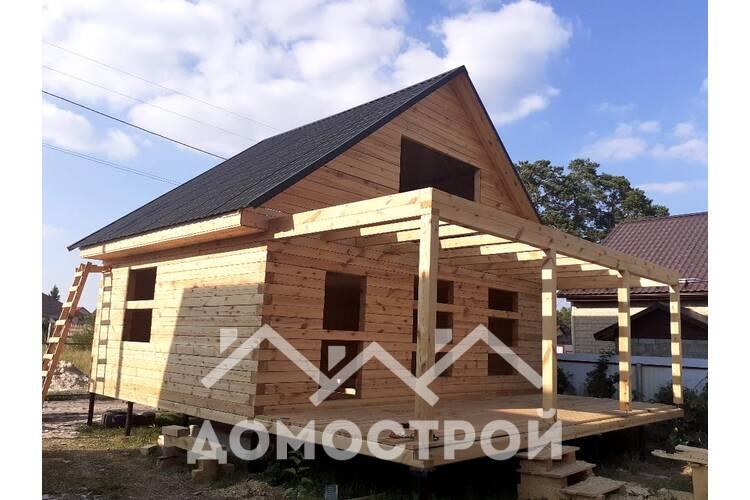 Дом из бруса 6х8 с террасой 3х8