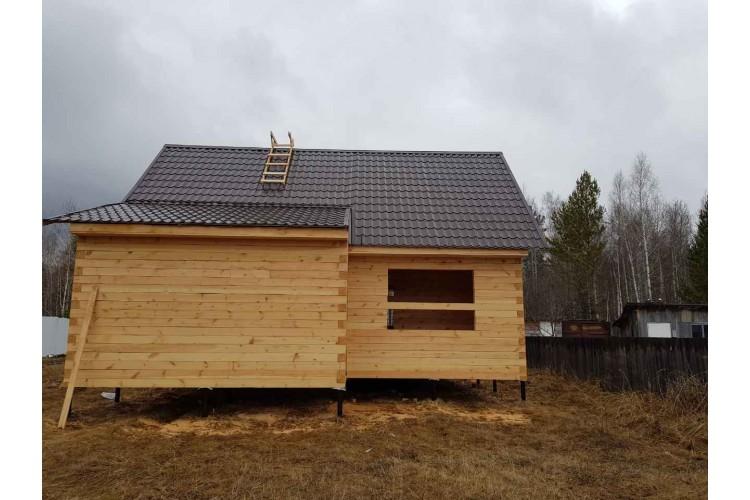 Строим дом из бруса 6х9 с террасой 3х9 и пристроем 2х5, на винтовых сваях.