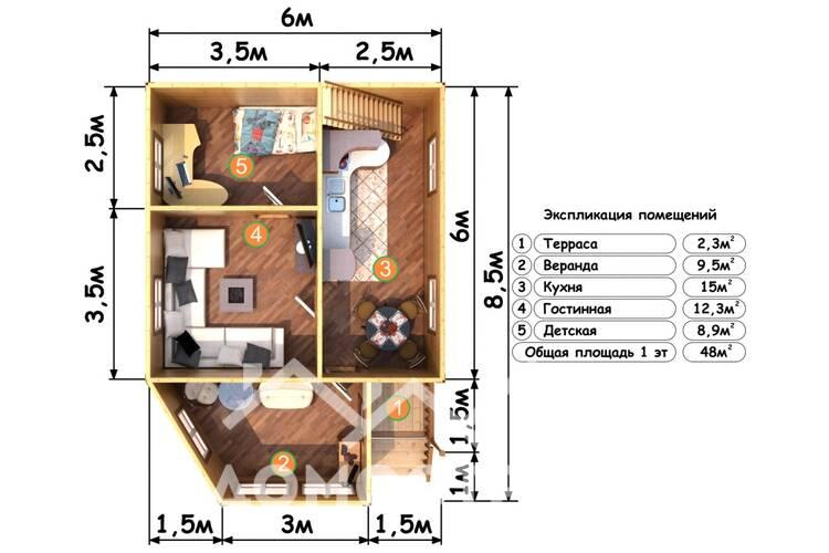 Дом из бруса Д-19