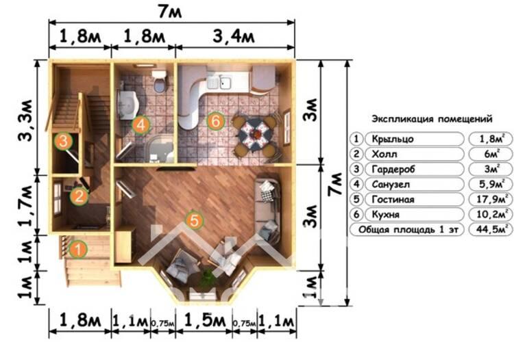 Дом из бруса Д-23