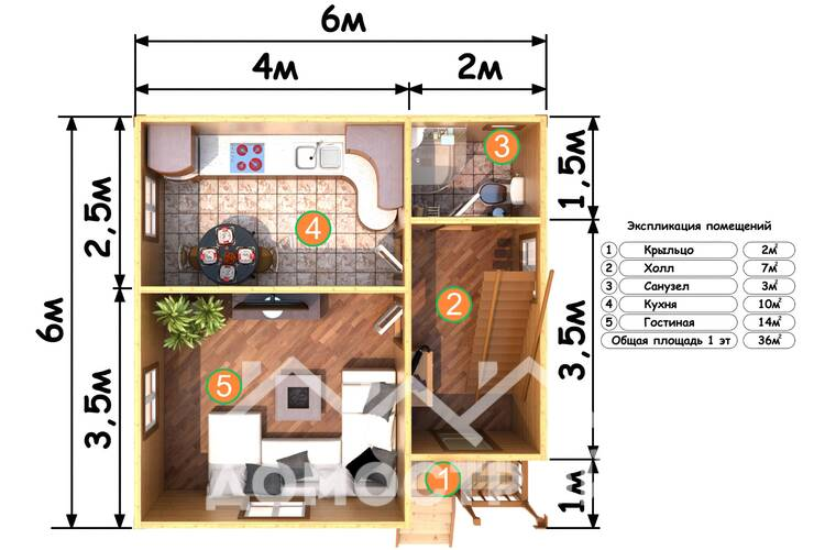 Дом из бруса Д-18