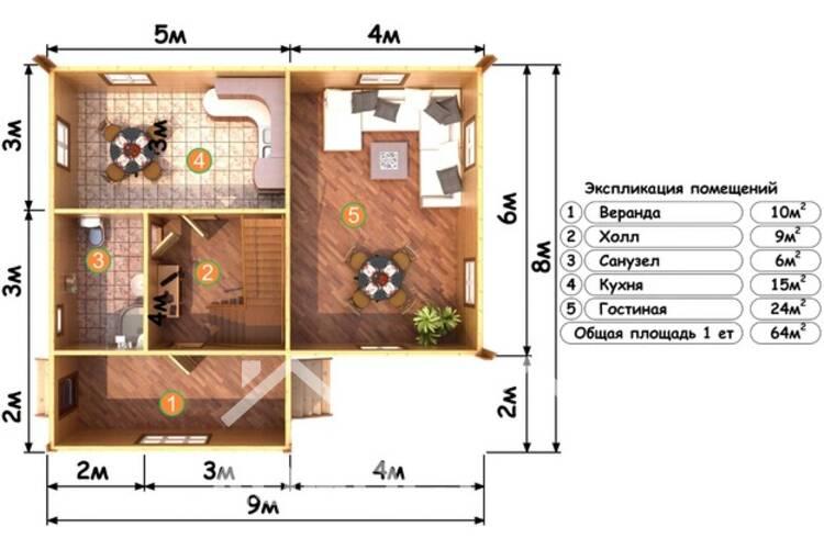 Дом из бруса ДП-116