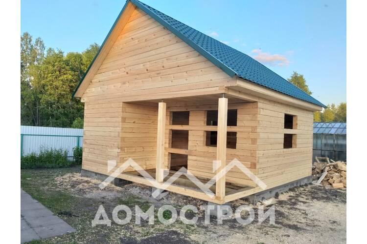 Баня из бруса 6х6 с крыльцом|Домострой72
