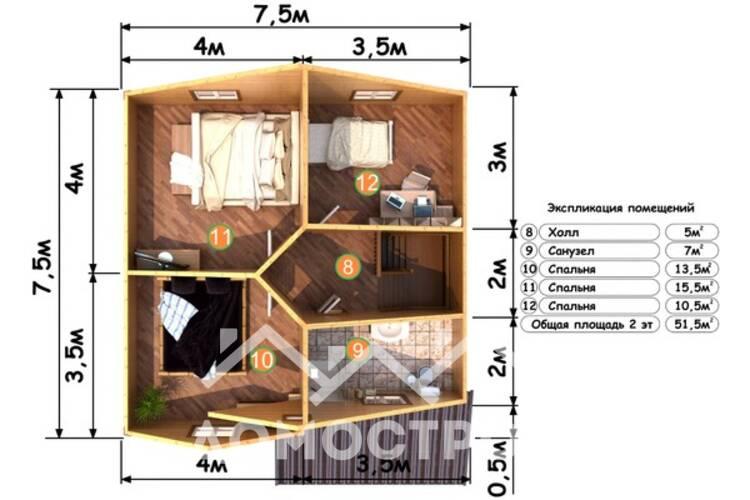 Дом из бруса ДП-111