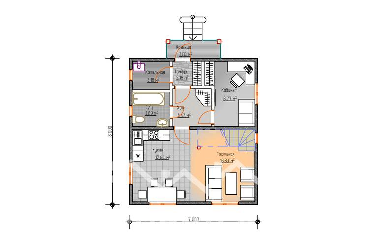 Дом из бруса М-57